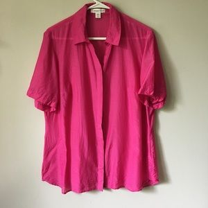 Coldwater Creek Silk/ Cotton Pink Button Down Top